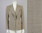 40s Vintage Brown And Cream Wool Suit Jacket. 40s Wool Blazer (S)