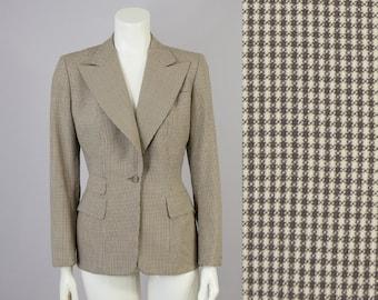 40s Vintage Brown And Cream Wool Suit Jacket. 40s Wool Blazer (S)