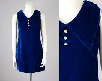 60s 70s Vintage Blue Velvet Pointy Collar Mini Dress (XS, S)