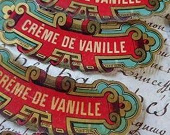 10 Gorgeous 19th century antique French gilded bottle labels  CREME DE VANILLE  c1880 unused