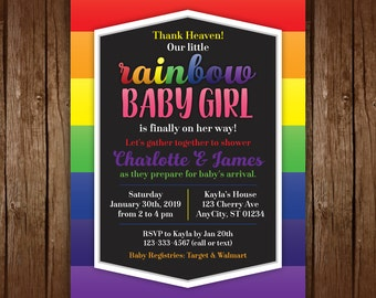 Rainbow Baby Shower Invitations, Rainbow Baby Shower, Printable Shower  Invitation, Rainbow Birthday Invitation