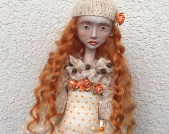 Art doll Marta OOAK doll Collecting doll Paper clay doll Air dry clay doll Human figure doll Clay doll Art clay doll
