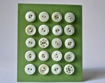 Small Vintage Buttons in Creamy Whites for Sewing and Crafts