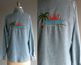Vintage 70's Tropical Island Sunset Embroidered Denim Button Up / Unisex Size Small Medium / Men's Women's Palm Trees