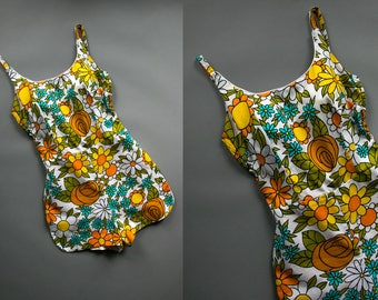 Vintage 1960's One Piece Floral Swimsuit/ Mod Swimwear / Women's Made by Sears / Retro Boho Summer