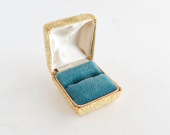 Vintage Ring Box Jewelry Display Storage Blue Velvet Wedding Engagement Earring