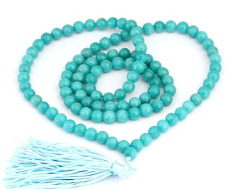 Tibetan Buddhist 108 Stone Prayer Beads Meditation Yoga Mala Necklace  ZZ114mm  8mm