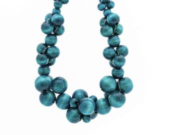 Wooden statement necklace MoleCOOLs Turquoise
