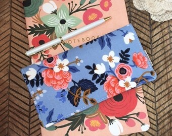 Checkbook Cover. Wallet. Receipt Holder. Birch in Periwinkle. Les Fleurs.