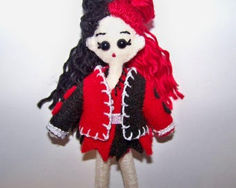 "Mini FabsTM 5"" tall Harley Quinn felt doll with removable outfit and shoes, all completely hand-sewn, comes in a hand-made gift bag"