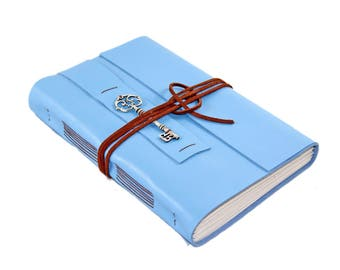 Large Light Blue Leather Journal - Blank Pages - Travel Diary - Art Journal - Prayer Journal - Ready To Ship - Guestbook - Wedding - Diary -