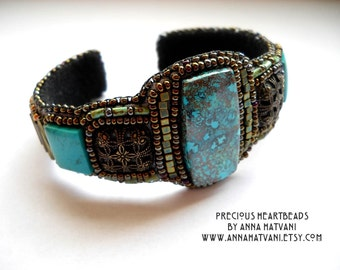 Bead Embroidery Bracelet Bead Embroidered  Gold Teal  Azurite Chrysocolla