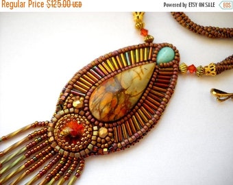 SPRING SALE 15% OFF Bead Embroidery Necklace Gold - orange  Bead Embroidered picasso jasper - Made to Order