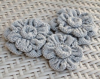 Set of Gray Volume Flowers Appliques, Bags decorations, Knit Flowers Roses, supplies, DIY knit, crochet flowers appliques, embellishments