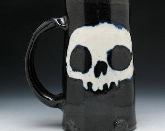 Skull Beer Mug in Metallic Black & White Glaze