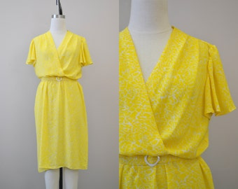 1970s Yellow Fluttery Dress
