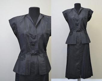 1940s Jo-Dee Black Taffeta Two Piece Set