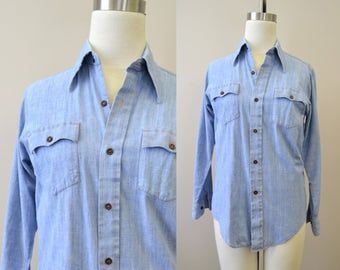 1970s Chambray Shirt with Calico Cat Applique