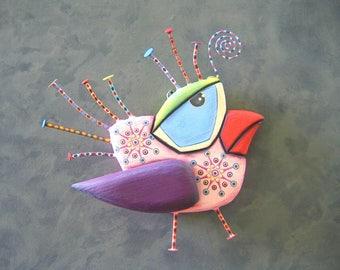 Bird Wall Art, Peace Dove, Original Found Object Wall Sculpture, Wood Carving, Wall Decor, Bird Sculpture, by Fig Jam Studio