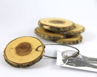 elm wood keychain - with screw on steel cable