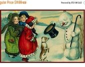 HOLIDAY SALE A Christmas Snowman... Victorian Christmas Counted Cross Stitch Chart / Pattern from Antique Card  Free Shipping