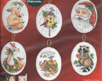 Janlynn Counted Cross Stitch Christmas Ornaments Santa & Animals #023-0216 NIP