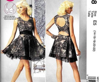 McCall's MP258 / M6647 Misses Backless Short Evening Dress Sewing Pattern UNCUT Size 14, 16, 18, 20, 22