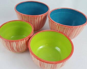 Ceramic bowls, set of four, modern ceramic, pottery bowls