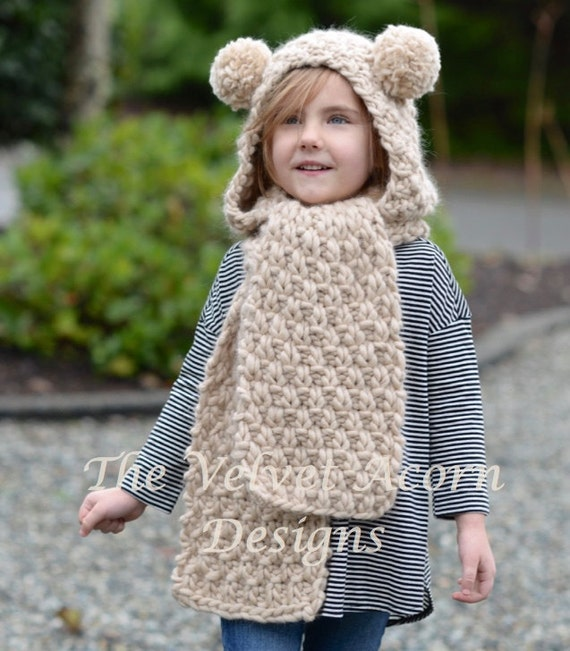 Knitting PATTERN-The Ziyon Hooded Scarf (12/18 months ...