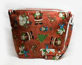"""Large Zipper Knitting Project Bag """"Christmas Cheer"""" (Wedge Style):  with detachable handle! (10"""" x 14"""" x 5"""" base)"""