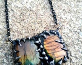 Double Lab Necklace - boho - gypsy- crystals- cosplay- labradorite crystals