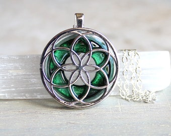 forest green seed of life necklace, sacred geometry, spiritual jewelry, meditation jewelry, chakra necklace, yoga jewelry, unique gift