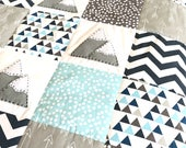 Baby blanket - Mountain XL Baby Boy Crib Quilt, baby boy blanket, patchwork quilt, blue baby blanket, mountain quilt