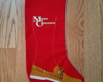Vintage Handmade Christmas Stocking with Vintage Red Stocking with Boat/Deck Shoe