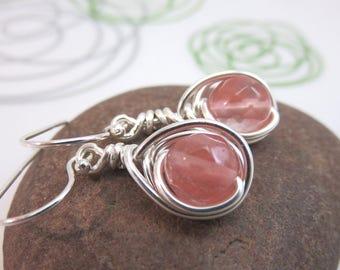 Watermelon tourmaline earrings -  sterling silver wire wrapped gemstone earrings - pink earrings - wire wrapped earrings Argentium earrings