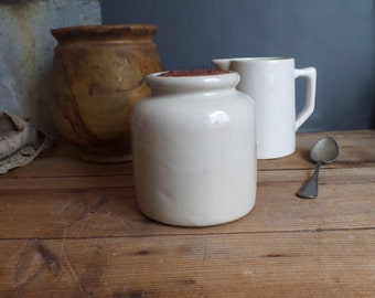 vintage traditional french earthenware container  Moutarde  Mustard container  White