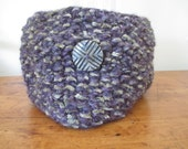 Chunky hand knit cowl in purple and sage green with one big trendy button and FREE SHIPPING to the 50 United States