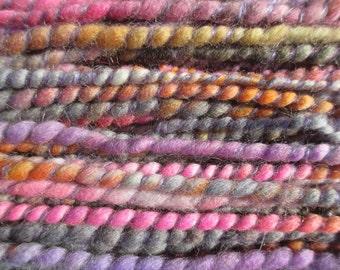 Handspun art yarn LAVENDER LUSH 48 yards free U.S. shipping Super Bulky lavender pink purple grey gold orange
