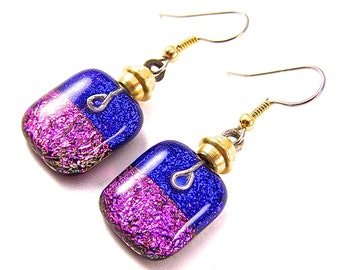 Dichroic Dangle Earrings - Blue Sapphire Pink Fuchsia Dichro Layered Fused Glass - Beaded - Surgical Steel French Wire or Clip On - 3/4""