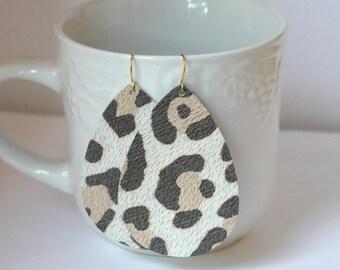 White Leopard Animal Print Cheetah Teardrop Drop Leather Earrings