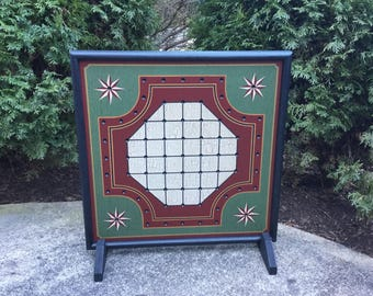 "19"" x 19"" , Solitaire, Primitive, Wood, Solitaire, Game Board, Folk Art, Gameboard"