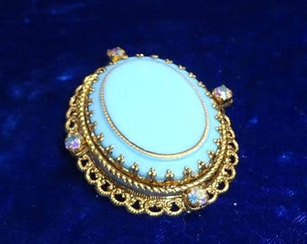 ON SALE Vintage Blue Glass Enamel Brooch with ab rhinestones signed pin signed West Germany