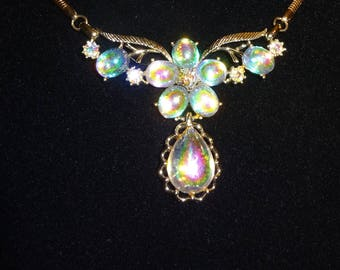 Rare Coro Signed iridescent Glass Necklace Gold Plated Necklace Art Glass Cabochon Necklace