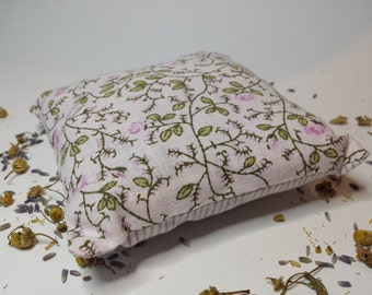 Floral Linen Aromatherapy Lavender and Camomile herbal sleep aid pillow - made with upcycled materials
