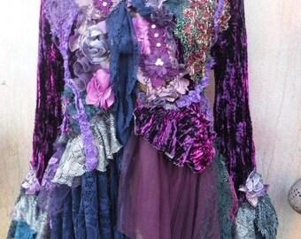 20%OFF wildskin, jacket, boho coat, gothic jacket, mori girl, gypsy, hippy coat, gypsy jacket, velvet coat, bohemian jacket, wildskin, OOAK