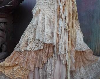 20%OFF wedding, bridal,tattered skirt, boho, fantasy, stevie nicks, bohemian skirt, gypsy skirt, white lace skirt, belly dance, tattered ,