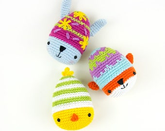 Ami-easter eggs: bunny, chick and fox amigurumi pattern