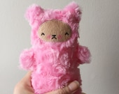 Kawaii Teddy Bear Stuffed Animal Sugaloaf Pink Minky Mini