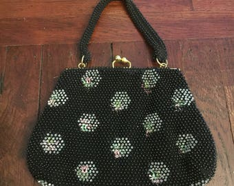 Vintage black beaded floral hand bag