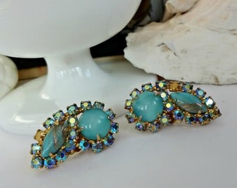 AB Blues / Vintage Shoe Clips / Old Rhinestones and Moonstone Glass / Wear On Shoes or Re-Design (D4)